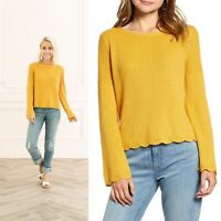 NWT Rachel Parcell XL Bell Sleeve Eyelet Sweater Scalloped Ribbed Mustard Yellow