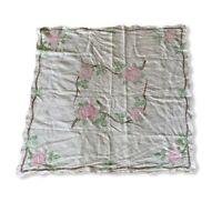 "Vintage Cross Stitch Tablecloth Linen 50"" Square"
