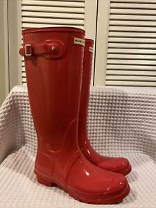 Hunter Original Hot Pink Size US 10 Tall Rain gloss Women Boots