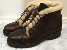 POLO Ralph Lauren Womens Lace Up Shearling Lined Ankle Boots Leather Brown Sz 7