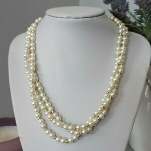 Vintage Retro White Round Plastic Faux Pearl Beaded Multi Strand Short Necklace