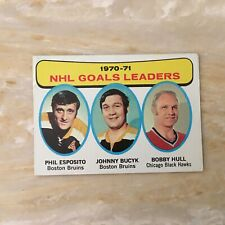 Hockey Card.1970-71 Topps #1 Goals Leaders. Esposito, Bucyk, Hull