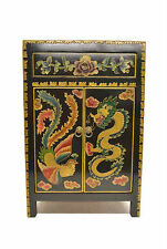 Black Chinese Wooden Side End Table Chest w/Painted Dragon & Phoenix Jul26-01