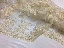 Antique Flower Design Mesh Lace Fabric Bridal Wedding Light Gold. Sold By Yard