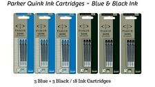 18 x Parker Quink Ink Cartridges For All Parker Fountain Pens, 3 Blue + 3 Black