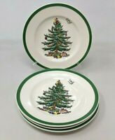 "VTG Lot of 4 Spode Christmas Tree Bread & Butter Dessert 6 1/2"" Plate GZ20"
