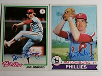 1978 & 1979 Topps Jim Lonborg Auto Autograph Card Phillies Red Sox Signed Lot