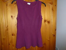 Plum purple semi-fitted sleeveless top with peplum, NEW LOOK, size 10