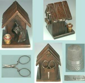 Antique Carved Wood Dog House Sewing Kit w/ Sterling Silver Thimble * Circa 1918