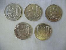 5 pièces de 10 Francs / Frs Turin en argent 1930 1931 1932 1933 1934