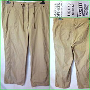 M&S UK18 WOMEN`S COTTON WIDE LEG TIE WAIST TROUSERS PANTS #B4353