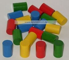 20 ZYLINDER HOLZ SPIELSTEINE Bastelmaterial ZÄHLSTEINE in 4 Farben 20x13 mm NEU