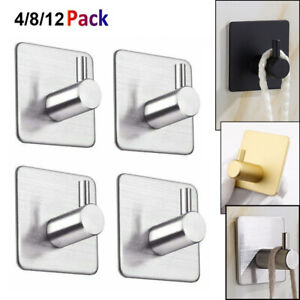 4/8/12PCS Bathroom Kitchen Door Wall Hooks Self Adhesive Robe Towel Hangers