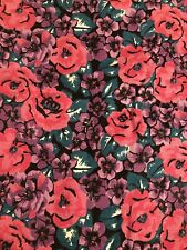 """Vintage Nos Pink Purple Green Floral Flowers Corduroy Fabric 1.75 Yards x 60"""""""