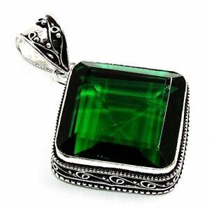 "Chrome Diopside Gemstone Handmade Vintage Jewelry Pendant 1.9"""
