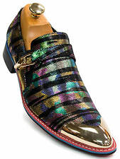 Fiesso Mens Black Metallic Leather Multi Color Gold Cap Toe Slip On Trendy Shoe