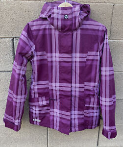 ROXY 5000 Women's Ski Snowboard Jacket Plaid Purple Small