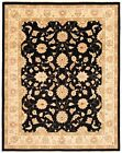 """Vintage Hand-knotted Carpet 9'4"""" x 11'8"""" Traditional Black Wool Area Rug"""