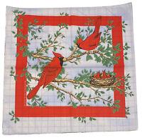 Vintage NOS Bandana Scarf Cardinal Nature Theme Cotton Blend Made in USA