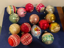 Set Of 16 Vintage Colorful Glass Christmas Ball Ornaments Including Shiny Brite