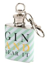 Stainless Steel Mini Pocket 1oz Gin Hip Flask Key Ring With Screw Cap Mum Gifts