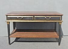 Hollywood Regency Black Crackle Finish Library Table with Cane Bottom Shelf