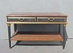 Vintage French Country Black Crackle Finish Library Table with Cane Bottom Shelf