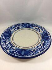 Uriarte Talavera Puebla Mexico Plate Folk Art Pottery Handpainted Blue & White