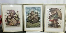 3 Vintage Hummel Framed 1930's Artwork 10x14. 5 Glass, Wood, Hanger