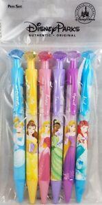 Disney Parks Princess Gem Top Pen Set 6 Ariel Cinderella Tiana Belle -2018 issue