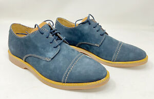 Clarks Atticus Cap Toe Leather Navy Nubuck Lace-Up Oxfords Mens 8W NEW
