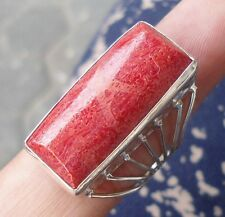 925 Sterling Silver-WY33-Bali Carved Ring Natural Red Coral Rectangle Size 9