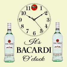"Beautiful Bacardi Clock "" It's Bacardi O'clock "" Present Chic Gift Shabby Unique"