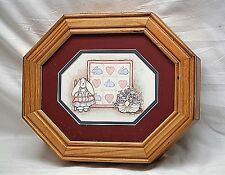 Vintage Style Wooden Jewelry Ring Catch All Box w Bunny Rabbit & Hearts Designs