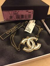 New Authentic Chanel Large CC Logo Gold Pendant Necklace Long