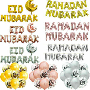 "16"" Eid Mubarak Ramadan Kareem Foil Balloon Banner Party Decor Islamic Supplies"