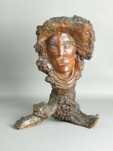 Unusual Sculpture Contemporary Trunk Tree Root Wood With Face Xx Century