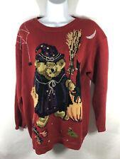 Susan Bristol Witch Bear Halloween Sweater Rare Vintage 1995 HAND EMBROIDERED