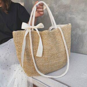 Summer Women Beach Bag Straw Large Woven Handbag Casual Lady Tote Shopper Bags