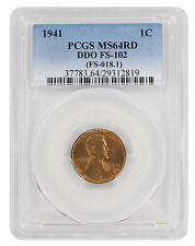 1941 Lincoln Cent MS64RD PCGS DDO FS-102 Cherrypicker Double Die Obverse