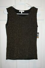 Womens Chaus New York Size Small S Black & Gold Blouse Tank Top Cami NEW NWT