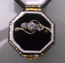 Women's Gold Three-Stone Ring 9ct Stamped Cubic Zirconia Stones W2.3g Size O 1/2