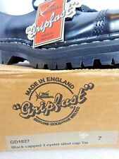 Nos T.U.K. Gripfast Black Leather Steel Cap Shoes Working Class England Welted 7