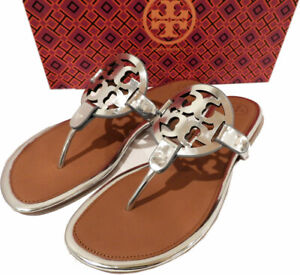 Tory Burch Miller Thongs Sandals Metallic Mirror Silver Leather Flip Flops 8.5