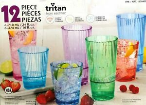 12PC Tritan Flute Drinking Water Coloured Drinkware Set Plastic Tumblers New
