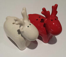 Red White Reindeer Christmas Salt & Pepper Pots Sellers Novelty Gift Retro
