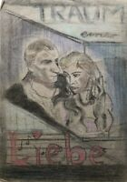 Zeichnung Kreide Traum einer Liebe Filmplakat Mid Century Hollywood Paar
