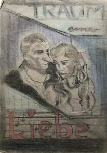 Drawing Chalk Dream One Love Movie Poster Mid Century Hollywood Pair