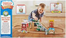 Thomas Train Wooden Track Percy Little Goat Set, Harold & Search Rescue Helipad