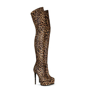 Womens High Heel Platform Shoes Leopard Synthetic Leather Thigh Boots US Sz 5~12